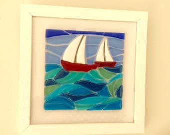 Fused glass picture Sailing Boats