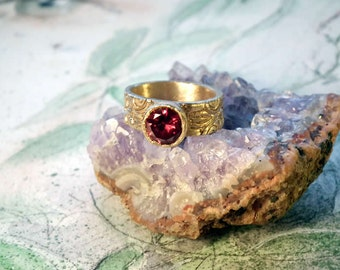 Unisex bronze rings for man or woman, middleage-renaissance  style with a red Zirconia 5 sizes available or on commission