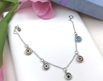 Evil Eye Baby Bracelet in Silver with Charm