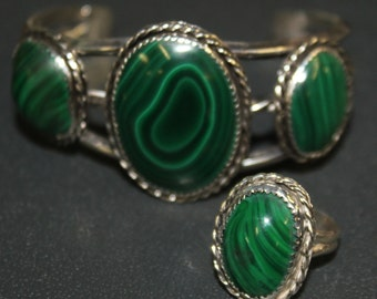Sterling Silver and Malachite Cuff Bracelet and Ring  47 Grams