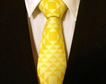 Yellow Necktie, Yellow Tie, Contemporary Necktie, Contemporary Tie, Mens Necktie, Mens Tie, Geometric Necktie, Geometric Tie, Father, Gift
