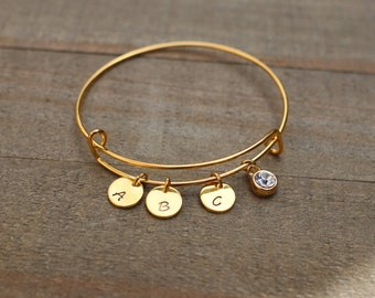 Mother gift, Aunt gift, Personalized bracelet, Personalized Initials Mother Bracelet, Customized Bangle Bracelet, Christmas present