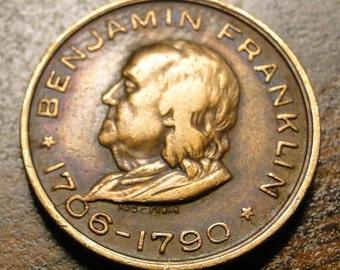 "Benjamin Franklin Souvenir Token - Memorial Token - (1706 - 1790) - Brass - 3/4"" Diameter - Very Nice Token!"