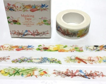cute birds little bird washi tape 10M Colorful birds Garden flower garden deco tape sticker bird story decor planner tape scrapbook gift