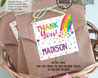 INSTANT DOWNLOAD Editable Colorful Rainbow Birthday favor tags DIY Rainbow printable favors Rainbow birthday label sticker thank you Rainbo