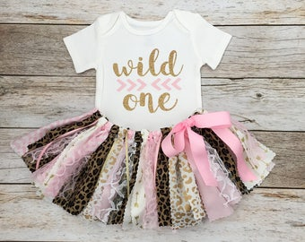 Safari Birthday Outfit, Pink and Gold Wild One Leopard Safari Birthday Outfit, Animal Print Birthday Outfit, Wild One Theme Birthday