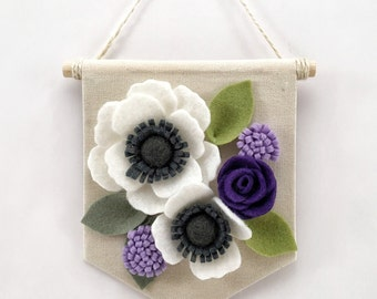 "Mini Felt Floral Banner | ""Purple & White"" 