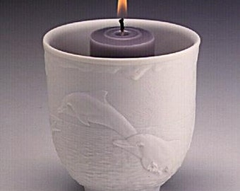Lladro 17658 Collectors Society dolphins At Play Votive Candle Holder 1998