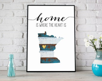 Home Is Where The Heart Is Custom Print, Custom Location, City/State, Housewarming Gift, Rustic Wood, Gold Heart, New Home Gift - (D180)