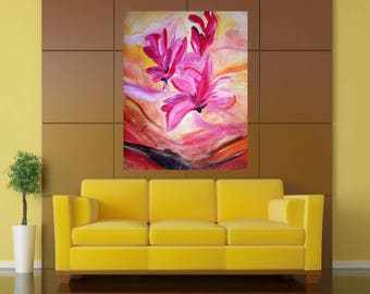 Romantic Abstract Flowers Acrylic Painting