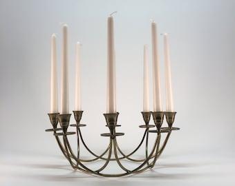 Large brass candelabra centerpiece