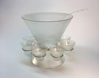 Federal Glass 'Norse' punch bowl set