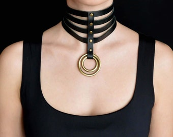 Leather choker for Women, Wide Leather collar for Women, Wide Leather chocker, Brass O-Ring necklace choker, Women Leather necklace