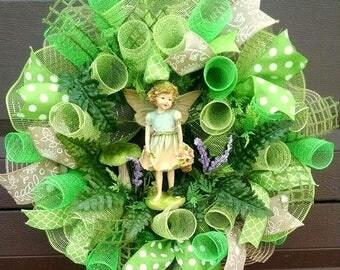 Spring Wreath for Front Door Wreath, Mom Gift Mom, Fairy Garden Wreath, Spring Door Hanger, Front Door Decor, Spring Decoration, Fairy Decor