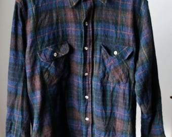 Vintage High Sierra by Mervyn's Wool Button Up Flannel Shirt Size Large