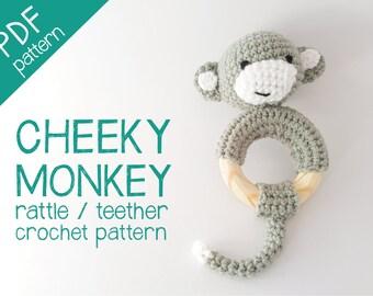 Cheeky monkey crochet rattle / teether PDF pattern