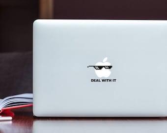Deal With It Glasses glowing Apple MacBook Decal / Deal With It Sunglasses Laptop Decal / iPad Decal vinyl sticker