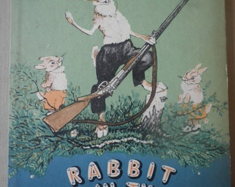 1950's childrens book, Rabbit nose in the air by Sergei Mikhalkov, Russian fairy tale, Vintage childrens book