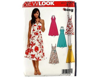 2000 Sewing Pattern - New Look 6557 - Halter Dress UNCUT
