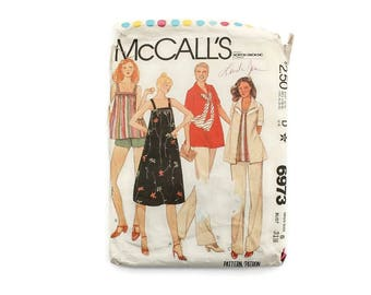 1970s Vintage Sewing Pattern - McCalls 6973 - Maternity Sundress Tunic Pants