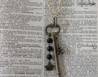 Skeleton Key, Vintage Key, Re purposed Jewelry, Skeleton Key with Eiffel Tower
