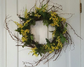 Front Door Wreath, Spring Wreath, Summer Wreath, Rustic Wreath, Spring Decoration, Country Wreath, Yellow Wreath, Country Home Decor, Gift