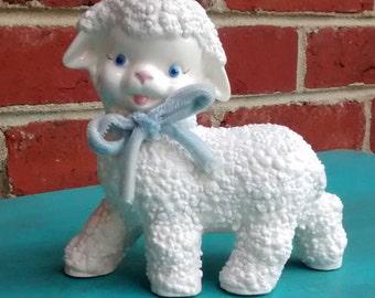 Vintage ceramic lamb white lamb with blue ribbon lamb nursery decor white ceramic sheep baby room decor