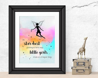 wall art, nursery decor, 8x10 digital print, water colour, girl, fairy