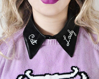 Cat Lady Detachable Embroidered Peter Pan Fake Collar Satin