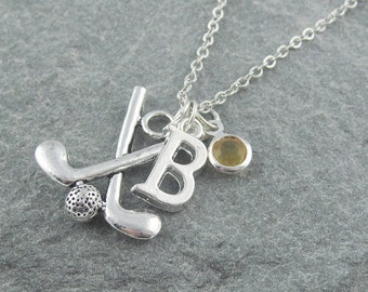 Golf necklace etsy golf necklace silver golf pendant personalized jewelry initial necklace swarovski birthstone aloadofball Images