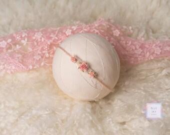 Pink Rose Newborn Tieback, Photo Prop