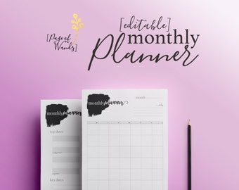 Editable Monthly Planner Set -- Goals & Editable Calendar -- Organizer -- Diary -- Artists and Entrepreneurs -- Home and Work