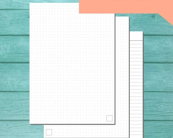 PRINTABLE A5 Paper - GRAY - Dot Grid + Lined Ruling