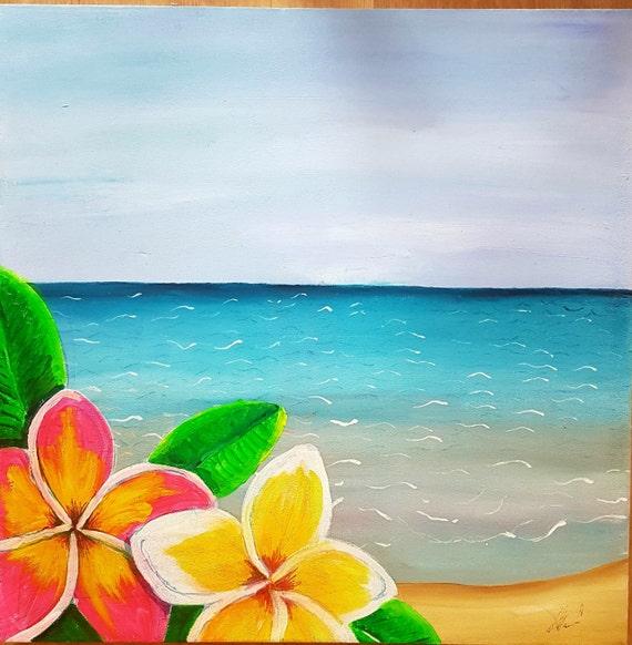 Caribbean Beach: Caribbean Beach Flowers Acrylic Paint On Large Canvas