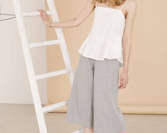 Organic cotton wide-leg pants, Culottes, Grey pants, Women trousers, High waist trouser, Minimal clothing, Womens clothing, Summer