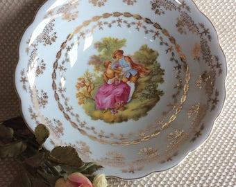 Vintage T Limoges France serving bowl Fragonard courting couple country scene gold gilded Nice