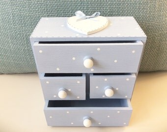 Mini Chest Of Drawers - Personalised Jewellery Box , Chest Of Draws, Girls Jewellery, Trinket Box.