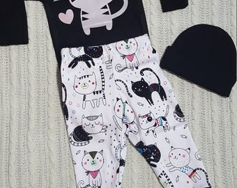 3 Piece Kitty Cat 0-3 Month Baby Girl Clothing Set