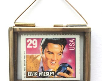 Elvis Presley Gifts - Rock and Roll Art - Elvis Art - Elvis Stamps - US Postage Stamps - Miniature Frames - Vintage Frames - The King