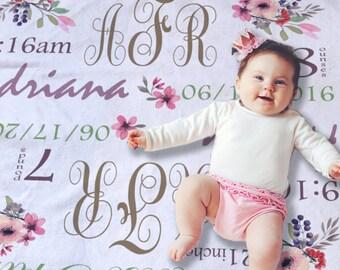 Baby Monogrammed Blanket - Custom Baby Blanket - Floral Baby Blanket - Baby Girl Gift Idea - Baby Crib Bedding - Swaddling Blanket Girl