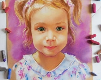 Children portrait pastel for her portrait women portrait drawing on a photo color girl portret present drawings to the Mother's Day