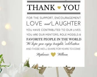 Thank You Wedding Sign Printable Wedding Sign Thank You Note Thank You Card 4x6 Poster Size Digital Download Custom Wedding Sign