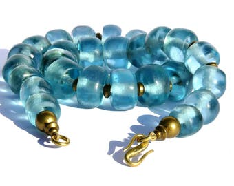 Collier AQUAMARINE glass beads recycled of Africa vintage gift for you