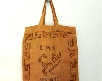 Large Vintage Peruvian Burlap Tote Bag with Tribal Stitch Pattern
