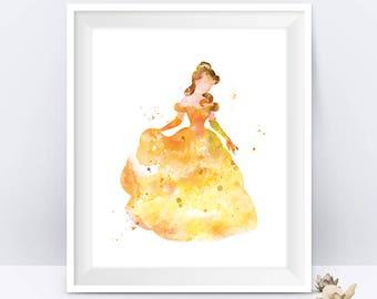 Belle Print Belle Watercolor Art Beauty and the Beast Disney Art Poster Nursery Gift Idea Wall Art Kids Home Decor Digital Download