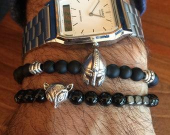Black Beaded Bracelets, Men's Bracelets, Black Bracelets Men, Men's Jewelry, Made in Greece by Christina Christi Jewels.