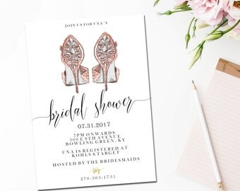 Bridal shower Invite, Printable wedding shower invitation / rose gold heels / fashion stiletto / bacherlorette party / customised / shoe