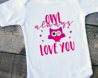 Valentine's Day owl love you baby girl bodysuit toddler tshirt