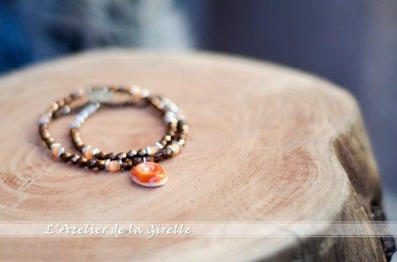Bracelets MAGDA Bronze : Eye of Santa Lucia and glass beads - Double turn bracelet