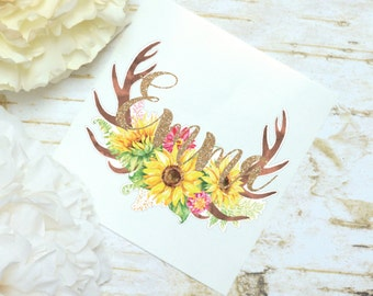 Antlers Sunflower Monogram Decal, Watercolor Flowers, Glossy and Glitter Monogram Sticker, Tumbler Decal, Watercolor Peonies, Floral Decal